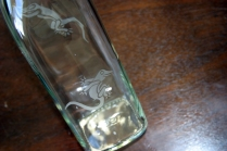 Leaping Lizards etched glass