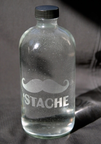 'Stache etched glass