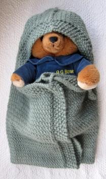 Alpaca hooded baby blanket