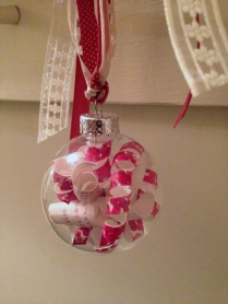 L& K wedding ornament from the side