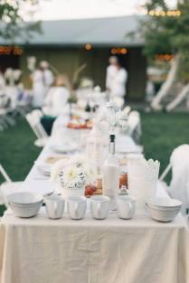Piecrust dinnerware and table